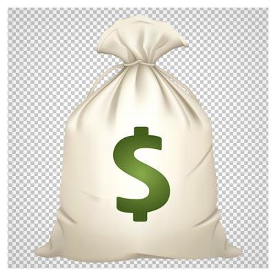دانلود فایل پی ان جی کیسه پر از دلار بدون پس زمینه
