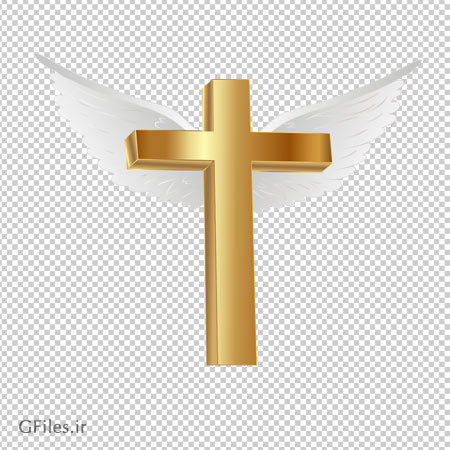 تصویر ترانسپرنت صلیب طلایی بالدار با فرمت پی ان جی