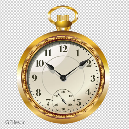 ساعت جیبی طلایی قدیمی ، دانلود بصورت فایل ترانسپرنت