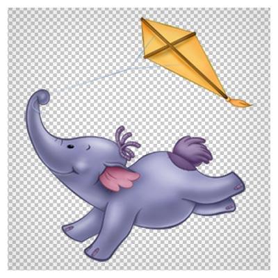 فیل بازیگوش با بادبادک ، دانلود بصورت فایل پی ان جی و بدون پس زمینه