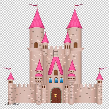 تصویر قلعه کارتونی صورتی بصورت فایل ترانسپرنت و دوربری شده