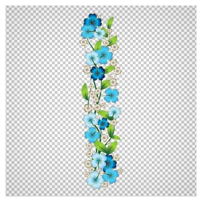 طرح گل های آبی چهار پر بصورت فایل پی ان جی