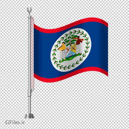 کلیپ آرت پرچم پایه دار کشور بلیز بصورت فایل پی ان جی و دوربری شده