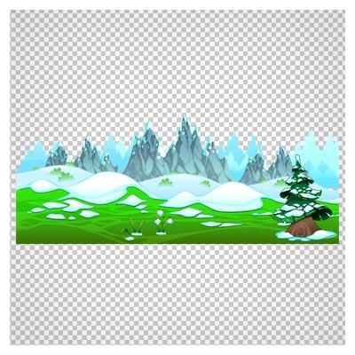 منظره یخی کارتونی بصورت دوربری شده و بدون پس زمینه