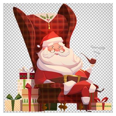 کلیپ آرت بابانوئل در حال پیپ کشیدن بصورت فایل بدون پس زمینه و پی ان جی