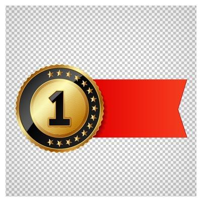 مدال طلای نفر اول روبان دار بصورت فایل ترانسپرنت و پی ان جی