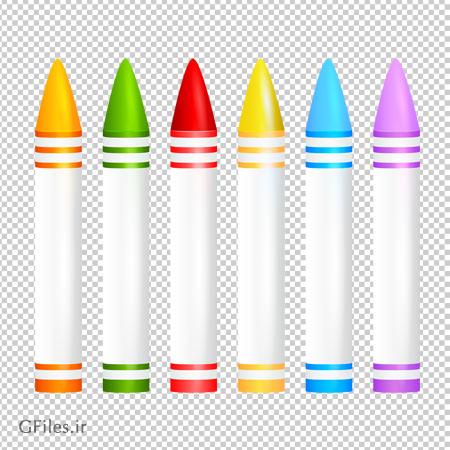 کلیپ آرت مداد شمعی های رنگارنگ بدون بکگرند با فرمت png