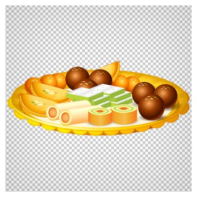 دانلود تصویر بشقاب پر از شیرینی های مختلف با فرمت پی ان جی