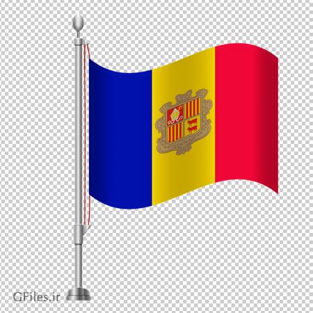کلیپ آرت پرچم رومیزی کشور آندورا بدون پس زمینه با فرمت پی ان جی