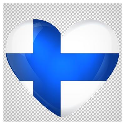 کلیپ آرت پرچم قلبی شکل کشور فنلاند با فرمت پی ان جی
