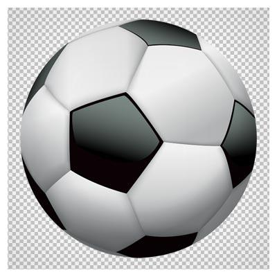 کلیپ آرت توپ فوتبال سفید و سیاه بدون پس زمینه با فرمت پی ان جی
