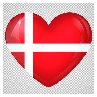 دانلود تصویر پرچم دانمارک به صورت قلبی شکل با فرمت پی ان جی