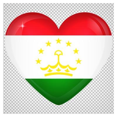 دانلود تصویر پرچم تاجیکستان به صورت قلبی با فرمت پی ان جی