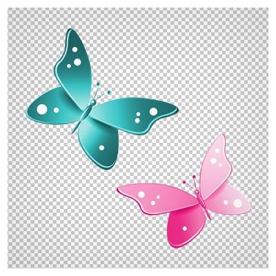 تصویر دو پروانه آبی و صورتی با فرمت پی ان جی و فاقد بکگرند