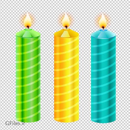 دانلود کلیپ آرت سه شمع رنگی با فرمت پی ان جی