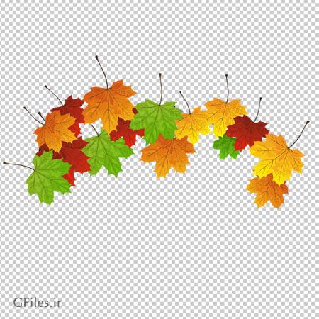 کلیپ آرت برگ های رنگارنگ چنار به صورت ترانسپرنت