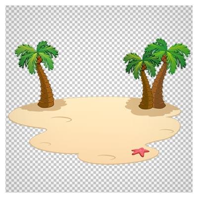 کلیپ آرت درختان نارگیل در جزیره کوچولو بدون پس زمینه