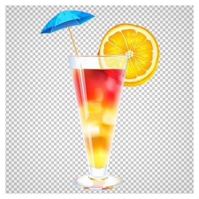 تصویر آبمیوه رنگی با تزئین پرتقال به صورت فایل ترانسپرنت