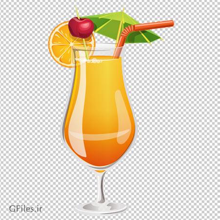 فایل پی ان جی آب پرتقال با تزئین گیلاس و پرتقال بدون پس زمینه