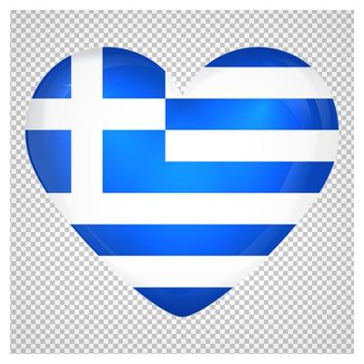 کلیپ آرت پرچم قلبی کشور یونان بصورت فایل بدون پس زمینه و پی ان جی