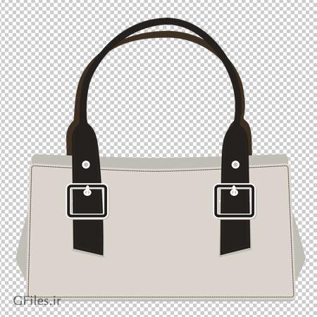 تصویر کیف زنانه دستی سفید بصورت فایل بدون پس زمینه