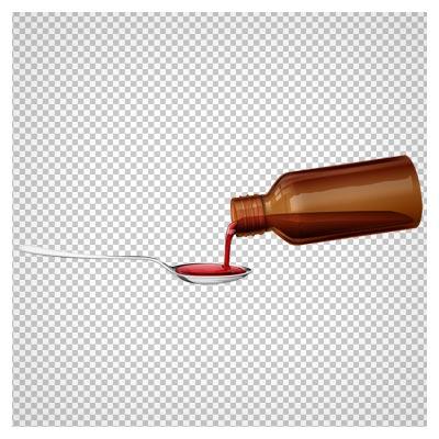داروی قرمز و قاشق بصورت فایل پی ان جی و دوربری شده