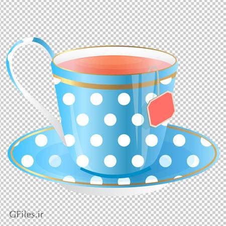 فنجان پر از چایی آبی ، دانلود بصورت فایل با پسوند پی ان جی