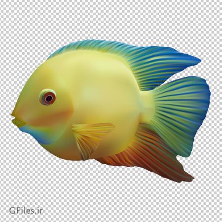 کلیپ آرت ماهی زرد آب شور با فرمت پی ان جی