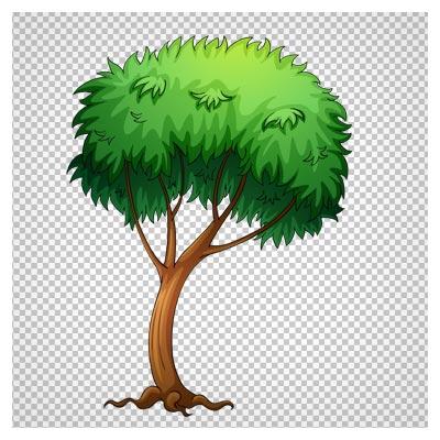 تصویر کلیپ آرت درخت منحنی سرسبز با فرمت پی ان جی