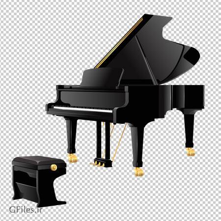 فایل دوربری شده و بدون پس زمینه پیانو مشکی چهارپایه دار