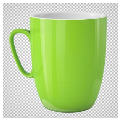عکس دوربری شده لیوان سرامیکی سبز فسفری با فرمت پی ان جی