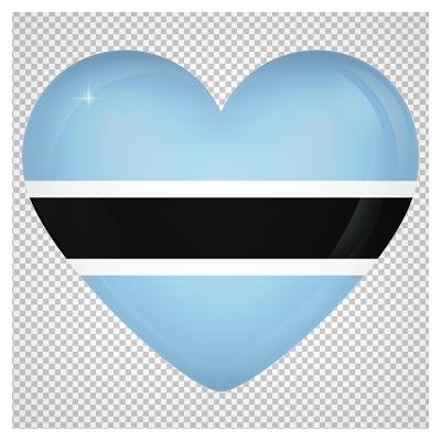 تصویر دوربری شده پرچم قلبی شکل کشور بوتسوانا با فرمت پی ان جی و بدون بکگرند