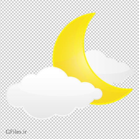 کلیپ آرت تصویر ابرهای سفید و ماه زرد دوربری شده