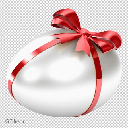 تصویر دوربری شده تخم مرغ سفید پاپیون دار با فرمت پی ان جی