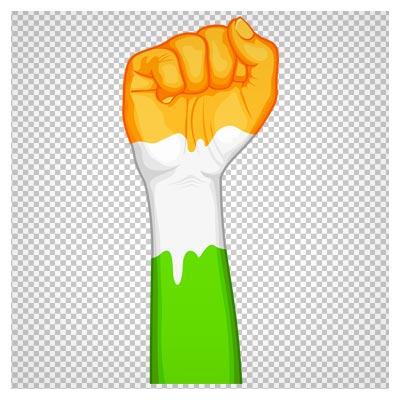 تصویر دست مشت شده به رنگ پرچم هند با پسوند png