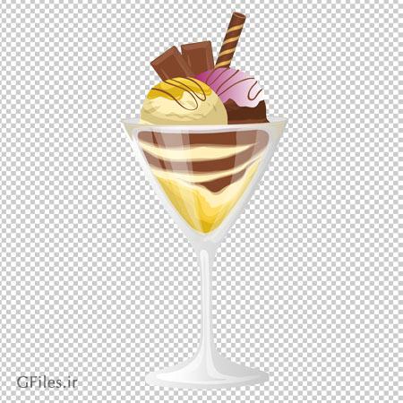 کلیپ آرت بستنی شکلاتی در جام پایه دار با پسوند پی ان جی