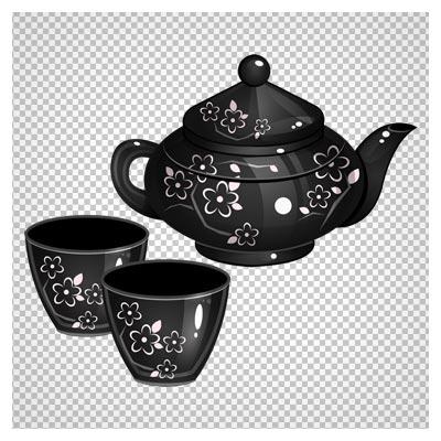 عکس دوربری شده قوری و فنجان های سیاه با طرح گل سفید