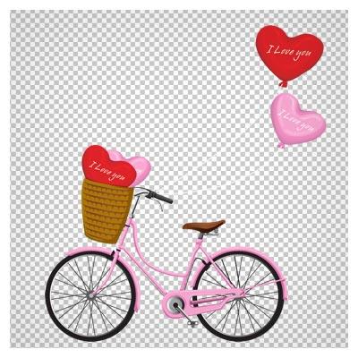 تصویر کلیپ آرت دوچرخه و بادکنک های عاشقانه به صورت فایل ترانسپرنت