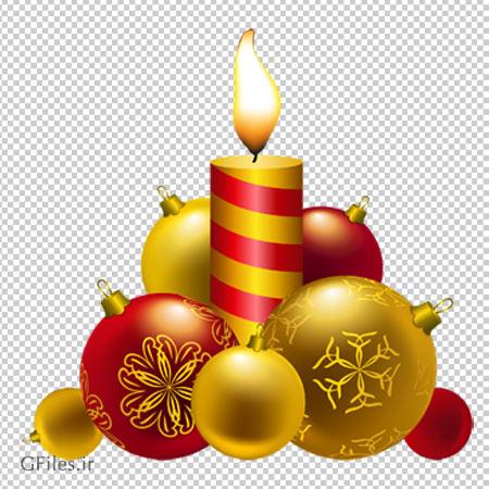 کلیپ آرت شمع و توپ های کریسمس با فرمت پی ان جی