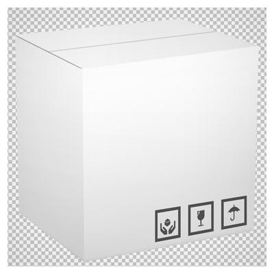 فایل دوربری شده جعبه مقوایی سفید با پسوند پی ان جی