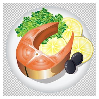 تصویر کلیپ آرت ظرف گوشت ماهی با تزئین سبزیجات بدون پس زمینه
