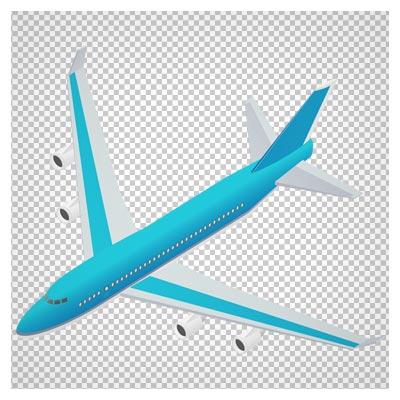 کلیپ آرت هواپیمای مسافربری آبی سفید با فرمت پی ان جی و بدون پس زمینه