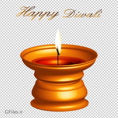 دانلود فایل ترانسپرنت تصویر شمع در شمعدان طلایی با فرمت پی ان جی