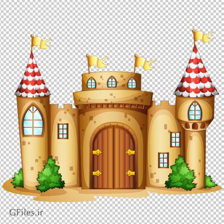 کلیپ آرت عکس قلعه کوچک پرچم دار به صورت ترانسپرنت و بدون پس زمینه