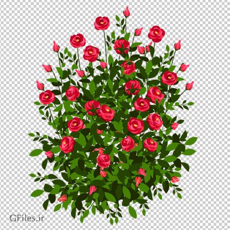 کلیپ آرت بوته رز قرمز پر گل با فرمت پی ان جی