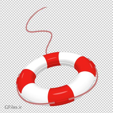کلیپ آرت تیوب نجات غریق سفید قرمز با فرمت پی ان جی