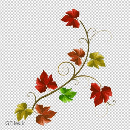 کلیپ آرت طرح شاخه و برگ های پاییزی بدون پس زمینه