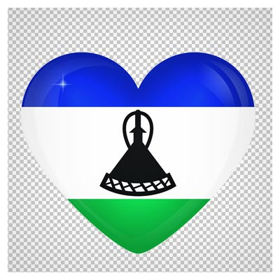دانلود تصویر پرچم قلبی شکل لسوتو با فرمت پی ان جی
