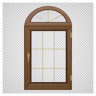 تصویر پنجره چوبی کلاسیک با فرمت png و فاقد بکگرند