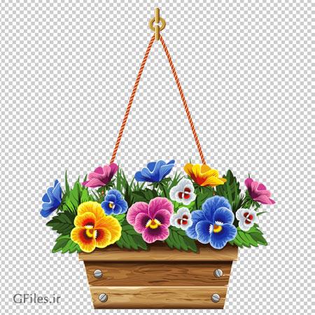 دانلود فایل ترانسپرنت و فاقد بکگرند سبد پر از گل های بنفشه